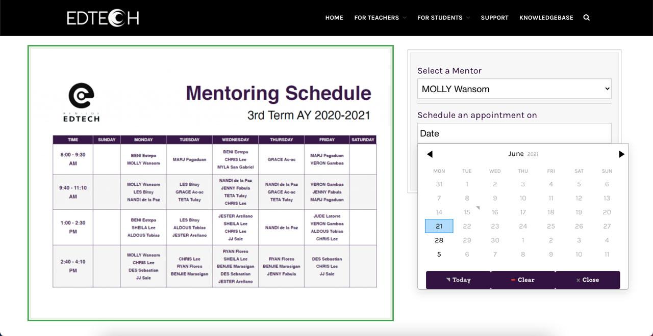 Choosing a mentoring schedule