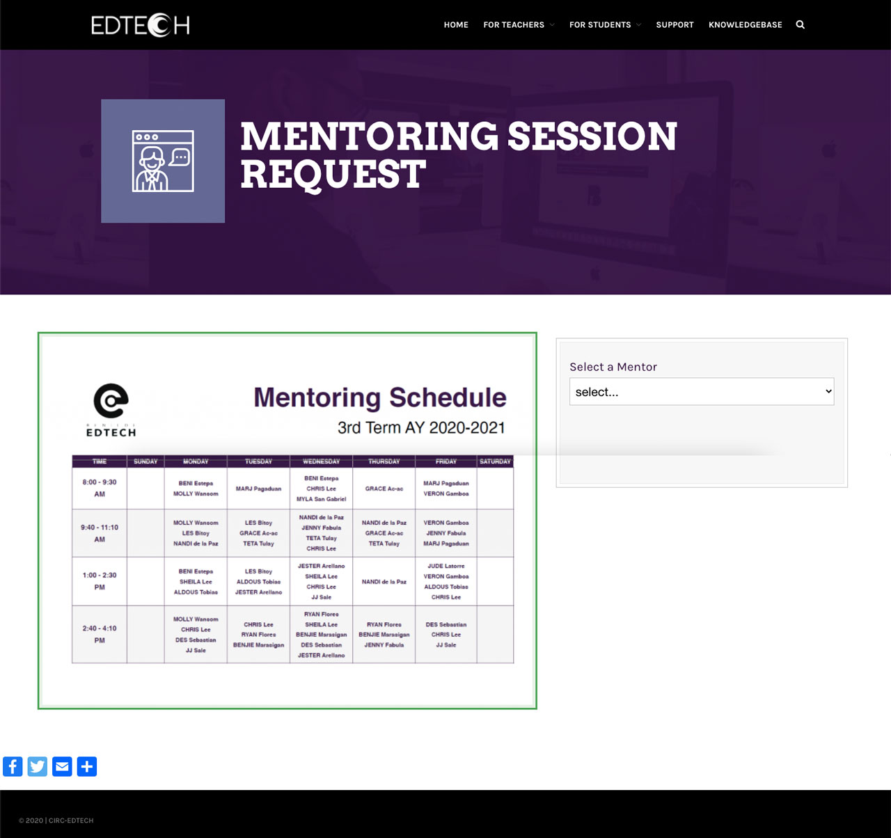 mentoring session request